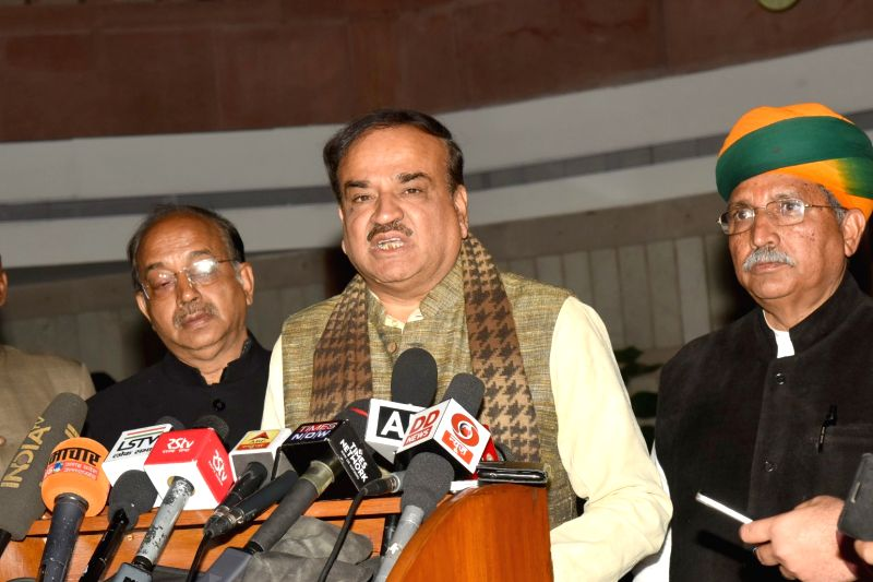 Union Parliamentary Affairs Minister Ananth Kumar with Union Minsters of State for Parliamentary Affairs Vijay Goel and  Arjun Ram Meghwal addresses a press conference at the All Party ... - Ananth Kumar