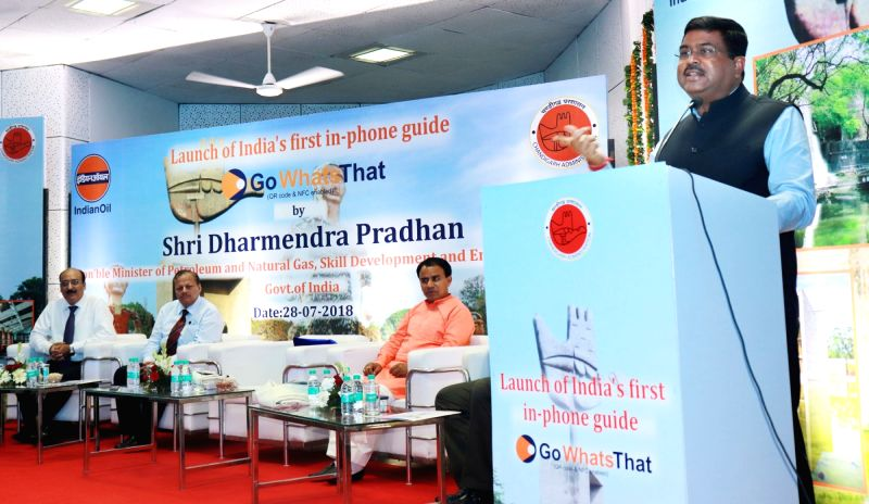 Union Petroleum and Natural Gas and Skill Development and Entrepreneurship Minister Dharmendra Pradhan addresses at the launch of the India's 1st in-phone guide and a mobile application ... - Dharmendra Pradhan