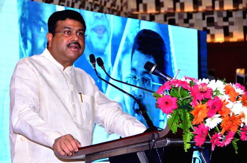 Union Petroleum Minister Dharmendra Pradhan addresses the media, in Bhubaneswar, Odisha on June 7, 2018. - Dharmendra Pradhan