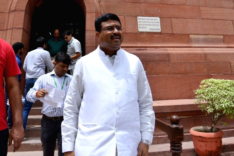 Union Petroleum Minister Dharmendra Pradhan at Parliament in New Delhi on Aug 3, 2018. - Dharmendra Pradhan