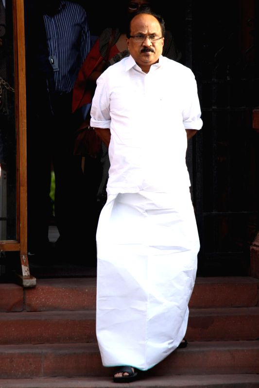 Union Petroleum Minister M Veerappa Moily comes out after the last cabinet meeting of UPA-II government in New Delhi on May 13, 2014. - M Veerappa Moily