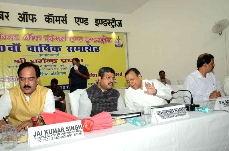 Union Petroleum Minster Dharmendra Pradhan during a programme in Patna on Oct 6, 2017.