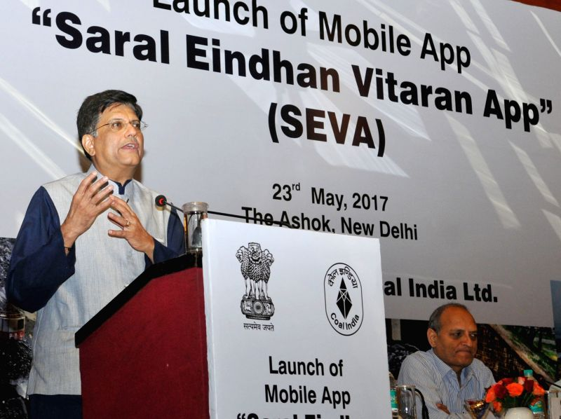 "Union Power Minister Piyush Goyal addresses at the launch of the Mobile App ""Saral Eindhan Vitaran App (SEVA)"", in New Delhi on May 23, 2017. - Piyush Goyal"
