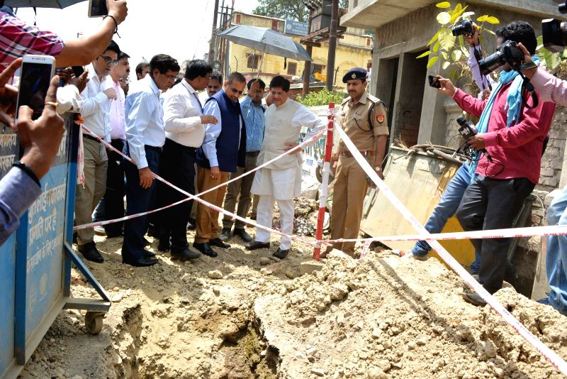 Union Power Minister Piyush Goyal inspects development work in Varanasi on April 25, 2017. - Piyush Goyal