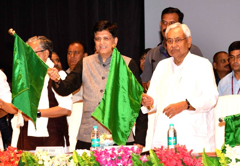 Union Railway Minister Piyush Goyal and Bihar Chief Minster Nitish Kumar flag off  the Sakri-Biraul passenger train and other railway projects, in Patna on Aug 12, 2018. - Piyush Goyal