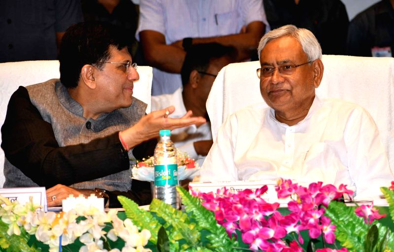 Union Railway Minister Piyush Goyal in a conversation with Bihar Chief Minster Nitish Kumar at the flagging off ceremony of the Sakri-Biraul passenger train and other railway projects, in ... - Piyush Goyal