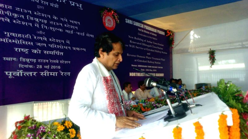 Union Railway Minister Suresh Prabhu addresses a public meeting in Dibrugarh, on May 28, 2016. - Suresh Prabhu