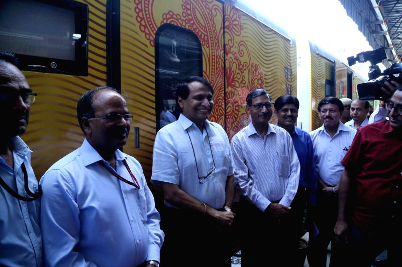 Union Railway Minister Suresh Prabhu inspects country's first Tejas rake that offers enhanced passenger comfort, communications and entertainment facilities stationed at Safdarjung ... - Suresh Prabhu