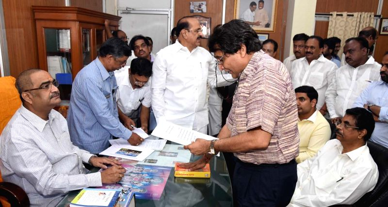 Union Railway Minister Suresh Pranhakar Prabhu files his nomination papers for elections to Rajya Sabha at Andhra Pradesh Assembly in Hyderabad on May 31, 2016. - Suresh Pranhakar Prabhu