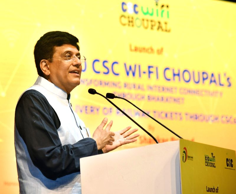 """Union Railways Minister Piyush Goyal addresses at the launch of """"5000 CSC WiFi Choupal""""and Delivery of Railway Tickets through CSCs, in New Delhi on June 11, 2018. - Piyush Goyal"""