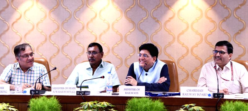Union Railways Minister Piyush Goyal addresses at a programme where he felicitated artists who participated in the initiative for Station Beautification  and unveiled other new ... - Piyush Goyal