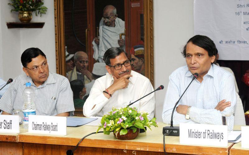 "Union Railways Minister Suresh Prabhakar Prabhu addresses a Round Table Conference on the ""Data Analytics for Indian Railways"" in New Delhi on May 16, 2017. - Suresh Prabhakar Prabhu"
