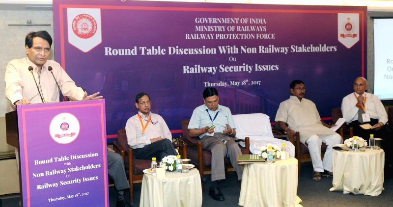 Union Railways Minister Suresh Prabhakar Prabhu addresses Round Table Conference with Non Railway Stakeholders on Railway Security Issues in New Delhi on May 18, 2017. - Suresh Prabhakar Prabhu