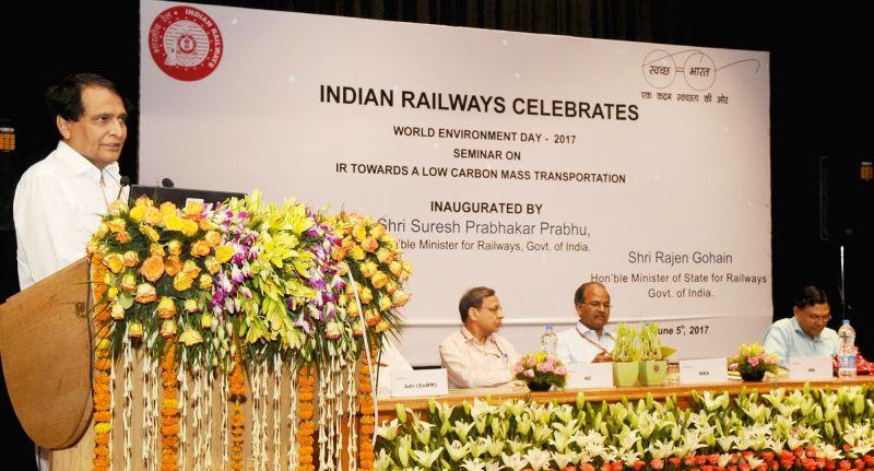 Union Railways Minister Suresh Prabhakar Prabhu addresses during a programme organised on World Environment Day in New Delhi on June 5, 2017. - Suresh Prabhakar Prabhu
