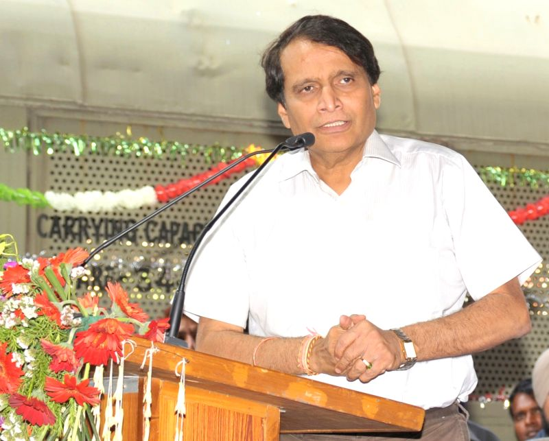 Union Railways Minister Suresh Prabhu addresses at the flagging-off ceremony of the 1st Dual Cab Freight Diesel Locomotive with Vacuum Toilet and Safety Interlocks, in New Delhi on May 6, ... - Suresh Prabhu