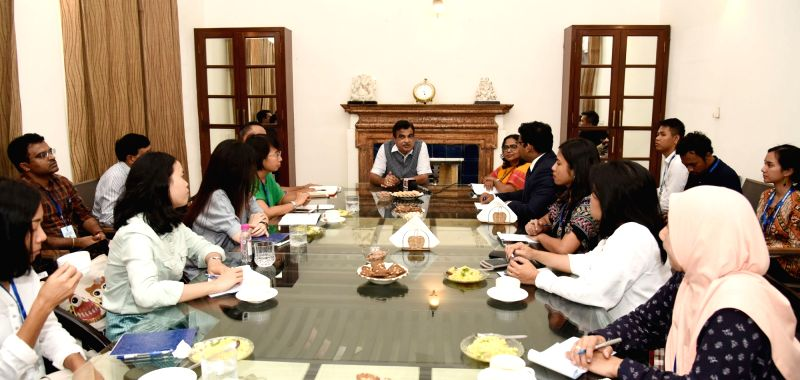 Union Road Transport and Highways, Shipping and Water Resources, River Development and Ganga Rejuvenation Minister Nitin Gadkari meets a delegation of journalists from ASEAN countries, in ... - Nitin Gadkari