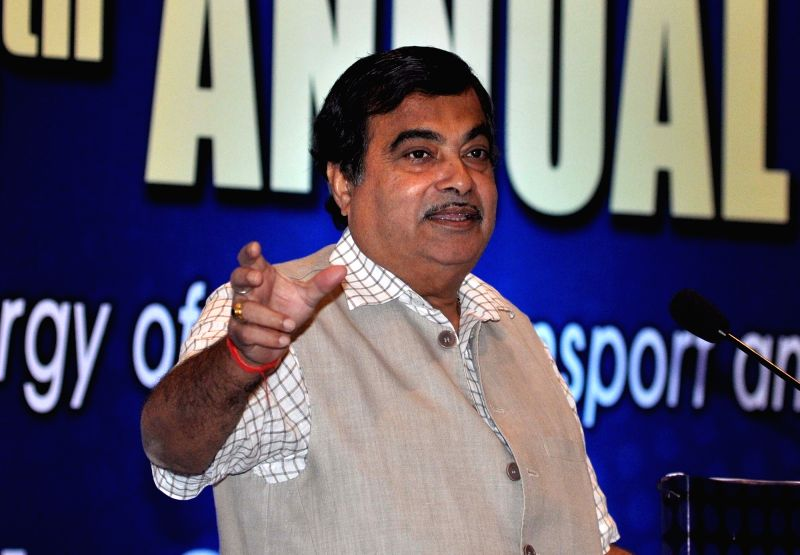 Union Road Transport, Highways and Shipping Minister Nitin Gadkari with the president of Bharat Chamber of Commerce (BCC) Sajjan Bhajanka during 115th Annual General Meeting of BCC in ... - Nitin Gadkari
