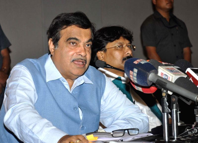 Union Road Transport, Highways and Shipping Minister Nitin Gadkari addresses a press conference in Guwahati, on April 6, 2016. - Nitin Gadkari