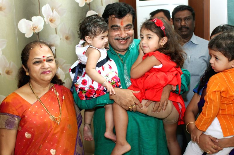 Union Road Transport, Highways and Shipping Minister and BJP leader Nitin Gadkari celebrates his birthday with his family in Nagpur, on May 27, 2016.