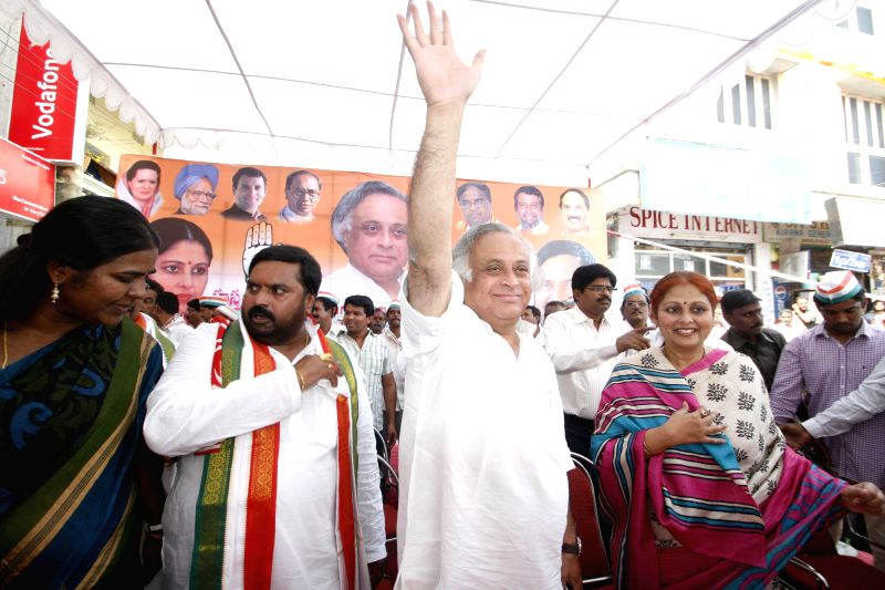 Union Rural Development Minister Jairam Ramesh during an election campaign in Secunderabad  on April 16, 2014.