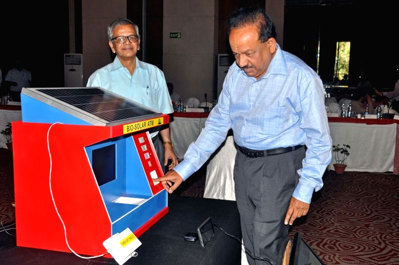 "Union Science and Technology Minister Harsh Vardhan demonstrates Bio-Solar ATM during ""DST Conclave 2017"" in Kolkata on May 3, 2017. - Harsh Vardhan"