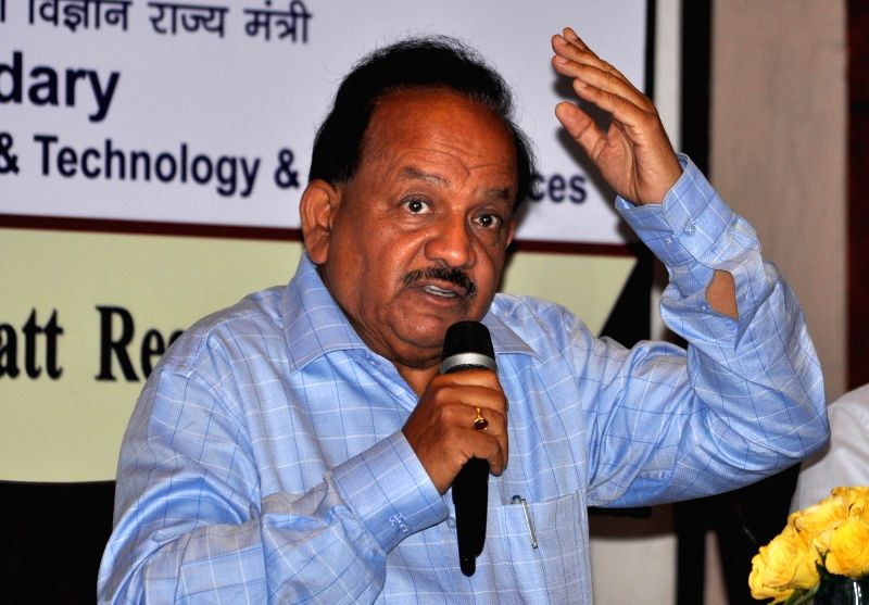 "Union Science and Technology Minister Harsh Vardhan addresses during ""DST Conclave 2017"" in Kolkata on May 3, 2017. - Harsh Vardhan"