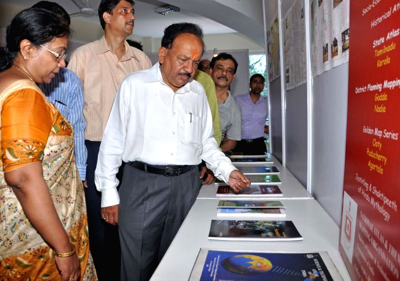 Union Science and Technology Minister Harsh Vardhan during inauguration of Rashtriya Atlas Bhavan - new building of National Atlas and Thematic Mapping Organisation in Kolkata, on May 4, ... - Harsh Vardhan