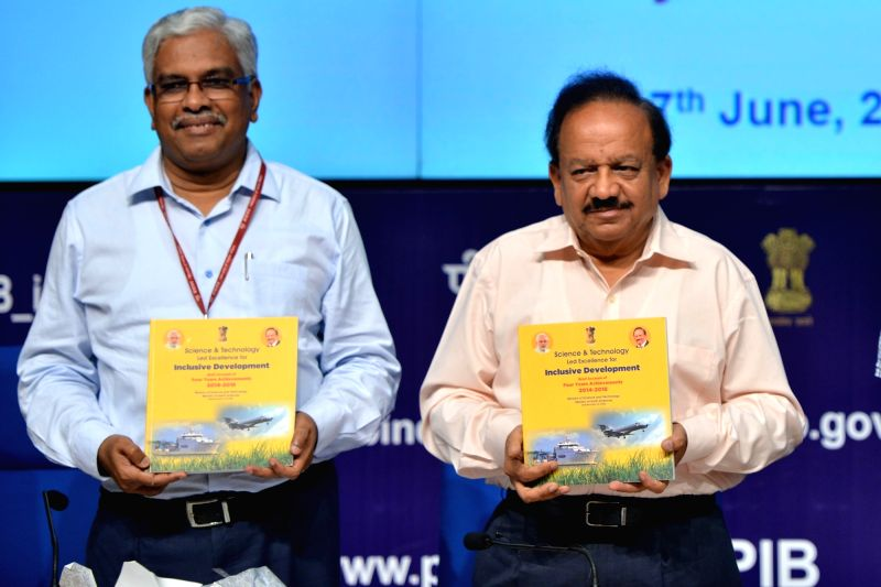 Union Science and Technology Minister Harsh Vardhan launches booklets on the achievements of his ministry in the last four years; in New Delhi on June 7, 2018. - Harsh Vardhan