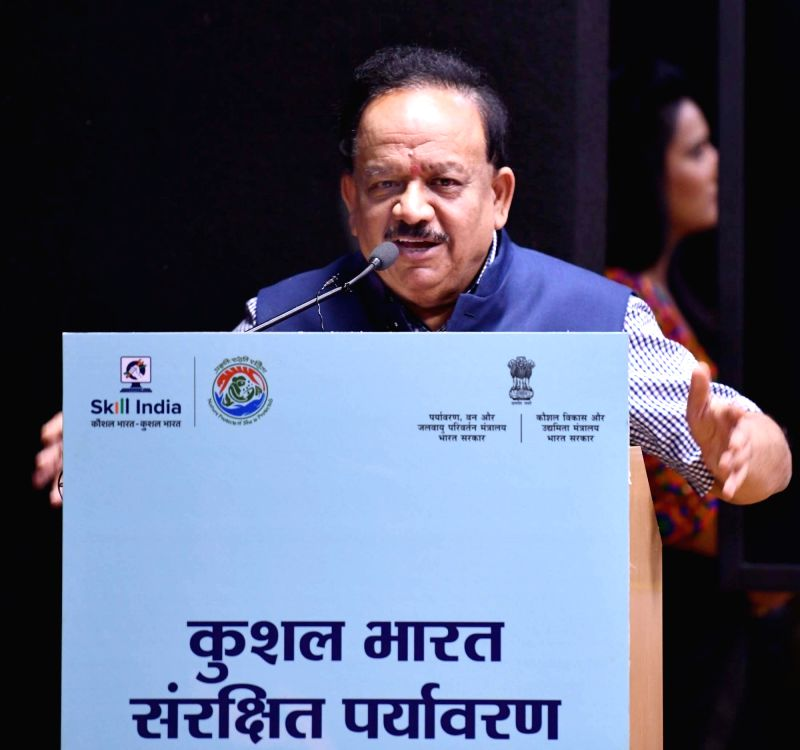 Union Science and Technology Minister Harsh Vardhan addresses during the MoU signing ceremony between the Ministry of Environment, Forest and Climate Change and the Ministry of Skill ... - Harsh Vardhan