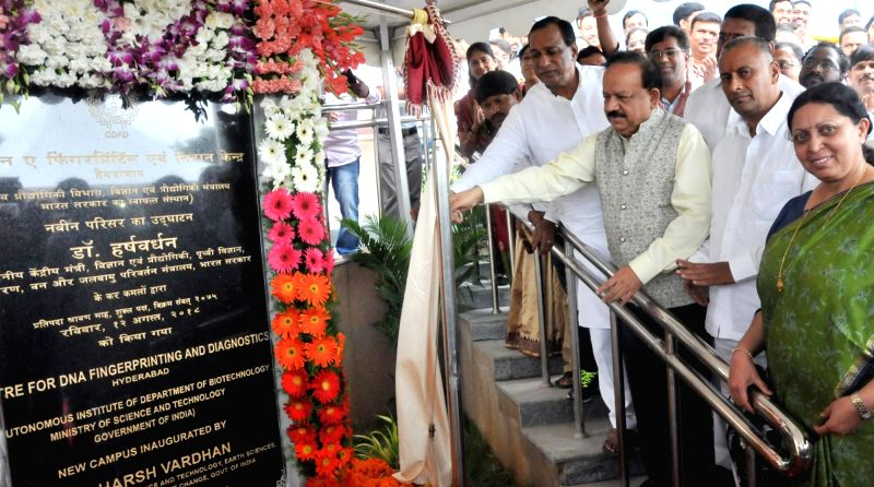 Union Science and Technology Minister Harsh Vardhan unveils the plaque to lay foundation stone of the Centre for DNA Fingerprinting and Diagnostics (CDFD) new campus, in Hyderabad on ... - Harsh Vardhan