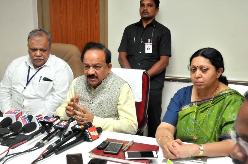 Union Science and Technology Minister Harsh Vardhan talks to the media at the inaugural programme of the new campus of Centre for DNA Fingerprinting and Diagnostics (CDFD), in Hyderabad on ... - Harsh Vardhan