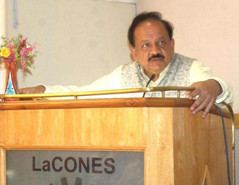 Union Science and Technology Minister Harsh Vardhan addresses at the foundation stone laying ceremony of the National Wildlife Genetic Resource Bank, in Hyderabad on August 12, 2018. - Harsh Vardhan