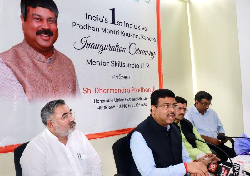 Union Skill Development and Entrepreneurship Minister Dharmendra Pradhan addresses at the inauguration of India's 1st Inclusive Pradhan Mantri Kaushal Kendra (PMKK), at Sahibzada Ajit Singh ... - Dharmendra Pradhan