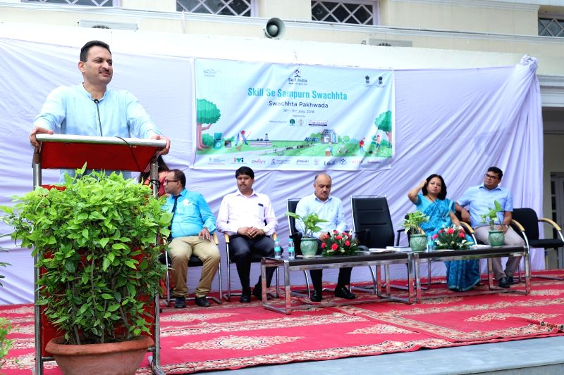 "Union Skill Development Minister Anant Kumar Hegde addresses after launching ""Skill Se Sampurn Swachhta"" campaign to support Swachh Bharat Mission, in New Delhi on July 25, 2018. - Anant Kumar Hegde"