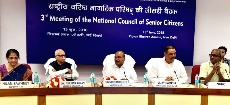 Union Social Justice and Empowerment Minister Thaawar Chand Gehlot chairs the 3rd Meeting of National Council for Senior Citizens, in New Delhi on June 13, 2018. Also seen Union MoS Social ... - Thaawar Chand Gehlot and L. K. Advani