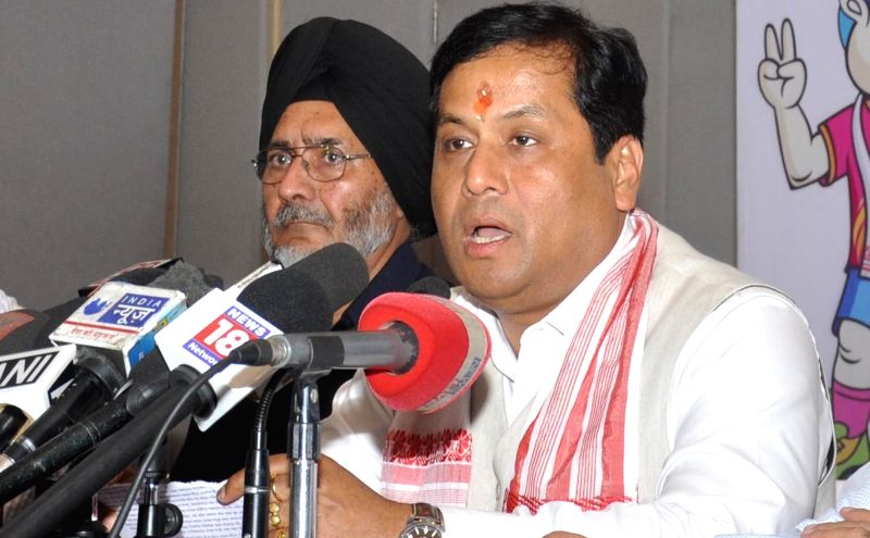 Union Sports Minister Sarbananda Sonowal addresses a press conference in Guwahati, on May 17, 2016. - Sarbananda Sonowal