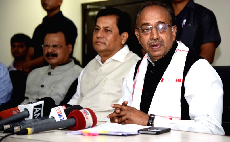Union Sports Minister Vijay Goel addresses a press conference regarding preparations for FIFA U-17 World Cup in Guwahati, on May 23, 2017. - Vijay Goel