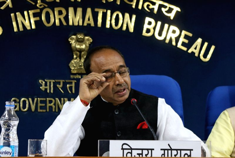 Union Sports Minister Vijay Goel addresses a press conference in New Delhi on June 1, 2017. - Vijay Goel