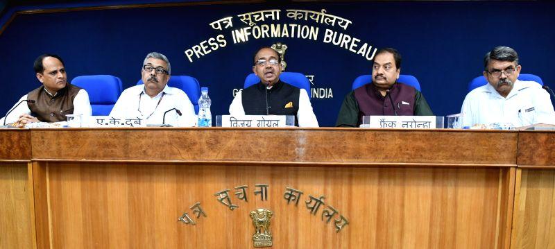 Union Sports Minister Vijay Goel addressing a press conference in New Delhi on May 3, 2017. - Vijay Goel