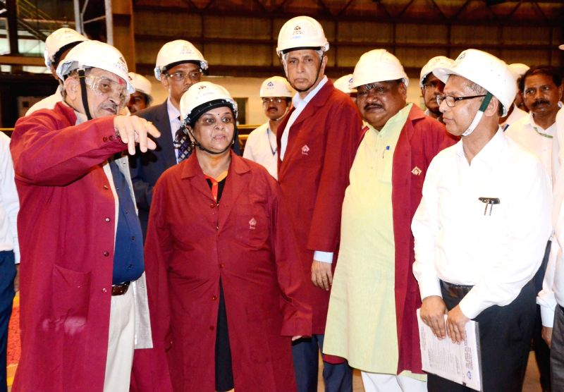 Union Steel Minister Chaudhary Birender Singh along with Union Tribal Affairs Minister Jual Oram visits the state-of-the-art New Plate Mill of Rourkela Steel Plant, in Rourkela, ... - Chaudhary Birender Singh