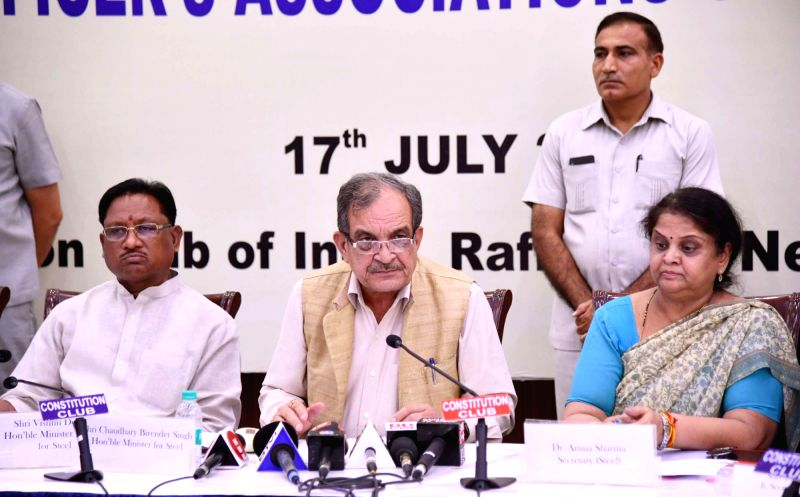 Union Steel Minister Chaudhary Birender Singh addresses a press conference along with Union MoS Steel Vishnu Deo Sai, after meeting the representatives of workers' unions of ... - Chaudhary Birender Singh