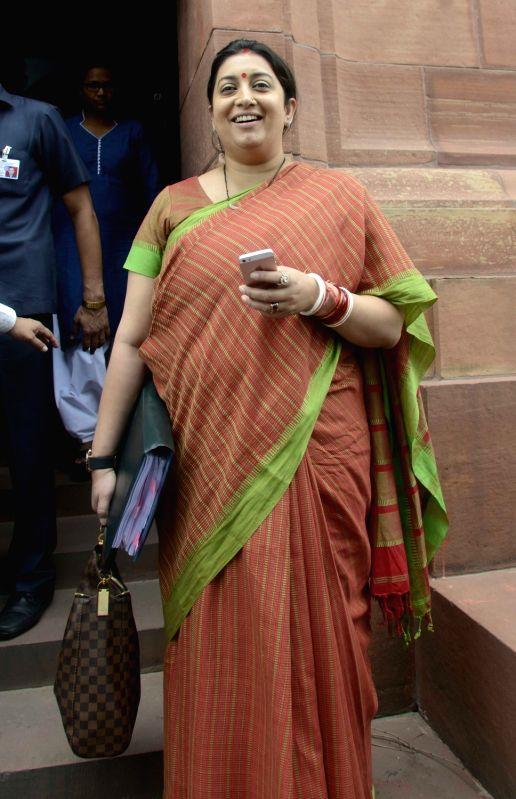 Union Textile Minister Smriti Irani at Parliament in New Delhi, on July 28, 2016. - Smriti Irani