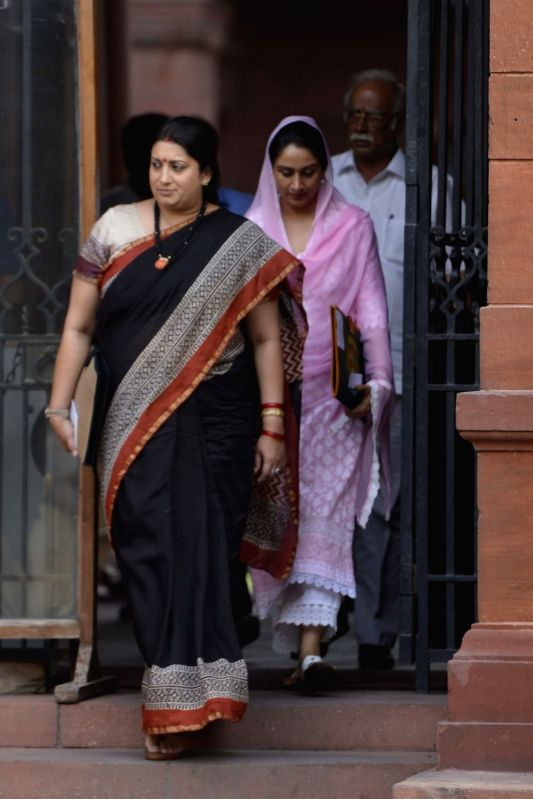 Union Textile Minister Smriti Irani comes out after a Cabinet Meeting at South Block in New Delhi on May 24, 2017. - Smriti Irani