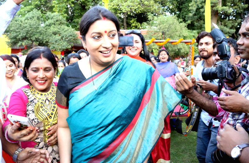 Union Textile Minister Smriti Irani during a programme organised to celebrate Teej festival in New Delhi on Aug 4, 2016. - Smriti Irani