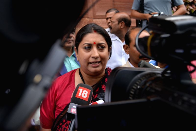 Union Textile Minister Smriti Irani talks to media at Parliament, in New Delhi, on July 20, 2018. - Smriti Irani