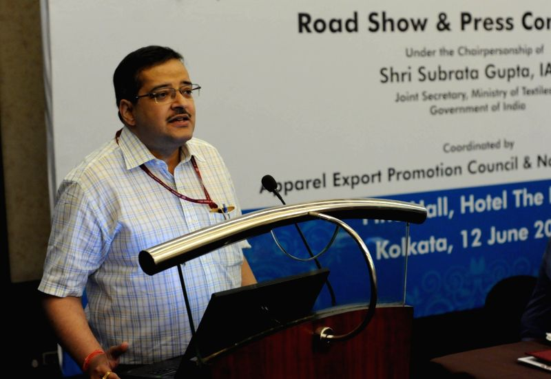 Union Textiles additional secretary Subrata Gupta addresses a press conference in Kolkata on June 12, 2017. - Subrata Gupta