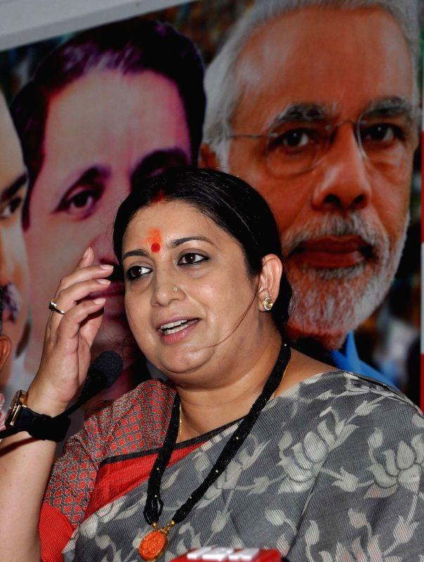 Union Textiles Minister Smriti Irani during a press conference in Kolkata on April 19, 2017. - Smriti Irani