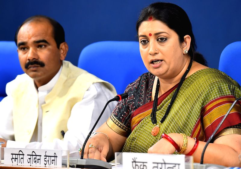 Union Textiles Minister Smriti Irani during a press conference in New Delhi, on May 22, 2017. - Smriti Irani