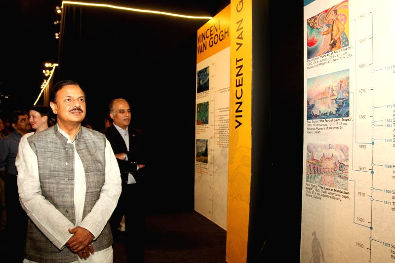 """Union Tourism Minister Dr. Mahesh Sharma during inauguration of """"The Drafting Canvas-Art in motion"""" - an exhibition organised at Select Citywalk mall in New Delhi on April 28, ... - D and Mahesh Sharma"""