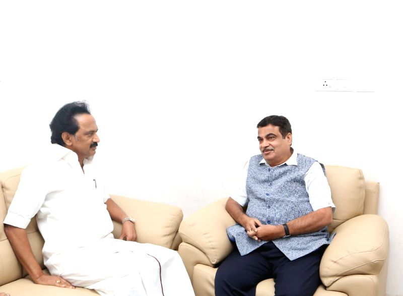 Union Transport Minister and BJP leader Nitin Gadkari with DMK working president M.K. Stalin at Kauvery Hospital where DMK President M. Karunanidhi is admitted, in Chennai on Aug 6, 2018. ...